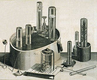 Experiments and Observations on Different Kinds of Air - Pneumatic trough, glass collecting cylinders and other equipment used by Priestley in his experiments on gases. The right-hand cylinder exhibits a sprig of mint which showed that plants generated oxygen from carbon dioxide