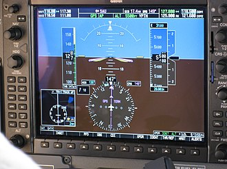 Primary flight display - PFD Garmin 1000.