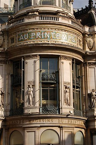 "Printemps - Printemps store on Boulevard Haussmann (Au printemps means ""in the spring"")"