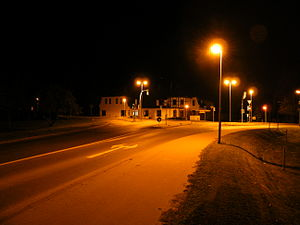 Pritzier - Crossing of B5 and B321 in the middle of Pritzier at night