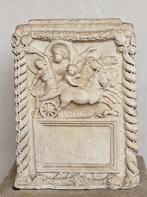 Pluto (mythology) - Pluto velificans, with a Cupid attending his abduction of Proserpina in a four-horse chariot (Roman cinerary altar, Antonine Era, 2nd century)