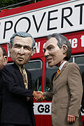 Protesters wearing George W. Bush and Tony Blair disguises (2004).jpg