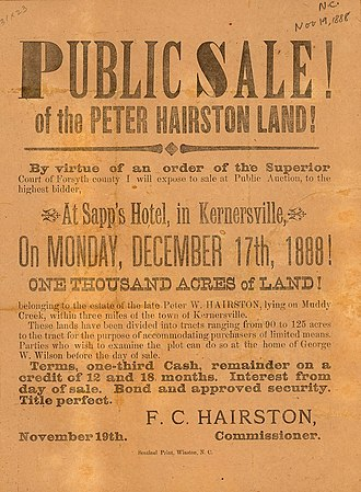 Cooleemee - Public sale of Hairston lands, Forsyth County, North Carolina, 1888