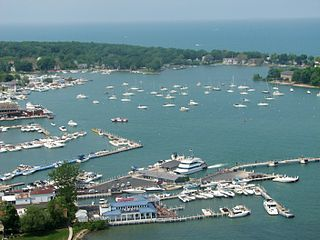 Aeriel view of Put-in-Bay in Lake Erie