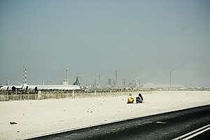 Mesaieed Industrial Area - Natural gas production in the industrial area.