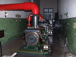 Nelson, Lancashire - An 1895 stationary steam engine built by William Roberts & Co of Nelson installed at Queen Street Mill Textile Museum, Burnley