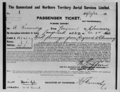 Queensland State Archives 2976 Qantas passenger ticket No 1 for a flight from Longreach to Cloncurry issued to A Kennedy and signed by Hudson Fysh 22 November 1922.png