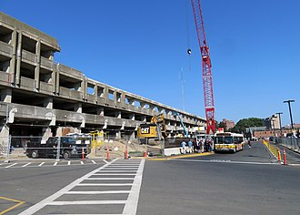 Quincy Center station - Garage demolition in August 2018