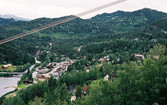 Numedal - Rødberg, the largest settlement in Numedal.