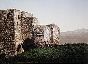 Zir'in - Image: REMNANTS OF AN ARAB PALACE IN GALILEE. COLOR PHOTO TAKEN IN THE LATE 19TH CENTURY BY FRENCH PHOTOGRAPHER, BONFILS. צילום צבע מסוף המאה ה19 של הצלם הצרפתי בונפיס אשר תעד במצלמת