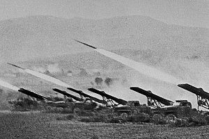 Katyusha rocket launcher - A battery of Katyusha launchers fires at German forces during the Battle of Stalingrad, 6 October 1942