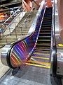 Rainbow escalator at Castro station, May 2018.JPG
