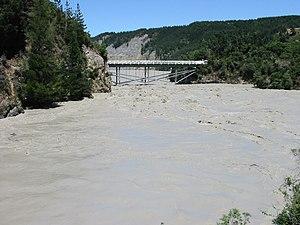 Rakaia Gorge - The Rakaia Gorge in flood.