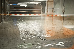 Rautatientori metro station flooding after wat...