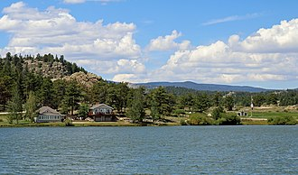 Red Feather Lakes, Colorado - Ramona Lake, with the community park on the right.