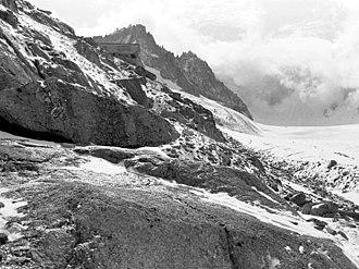 Argentière Hut - Argentière Hut, showing its position looking out  over the Argentière glacier