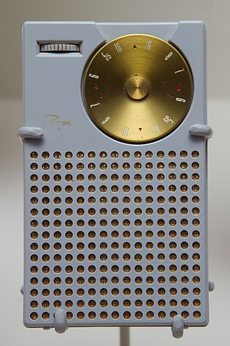 CONELRAD - First commercial transistor radio, with small red dial markings