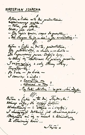 "Cyprian Norwid - Manuscript of ""Chopin's Piano"""