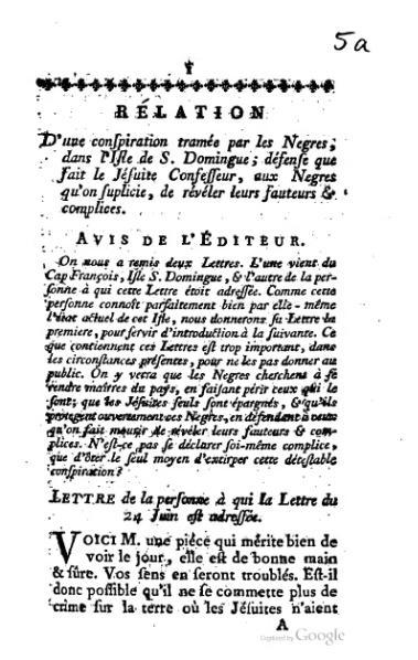 File:Relation d'une conspiration tramée par les nègres dans l'isle de Saint-Domingue, 1758.djvu