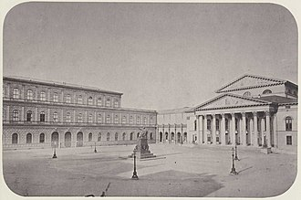 National Theatre Munich - Königsbau of the Munich Residenz (left) and National Theatre (right), photographed by Joseph Albert (1860)