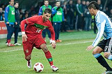 bf33d50ce3273 Quaresma (left) challenging Marcos Rojo of Argentina in a friendly match on  9 February 2011
