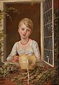 Richard Livesay - Portrait of a Girl with Straw Bonnet Looking Out of a Window.jpg