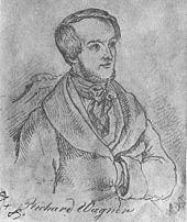 Wagner 1842 in Paris, Zeichnung von Ernst Benedikt Kietz (Quelle: Wikimedia)