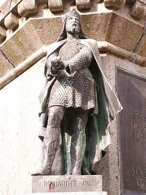 "Richard II, Duke of Normandy - Richard the Good as part of the ""Six Dukes of Normandy"" statue in the town square of Falaise."