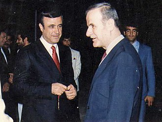 1982 Hama massacre - Hafez al-Assad (right), president of Syria. His brother Rifaat al-Assad (left) supposedly supervised the operation