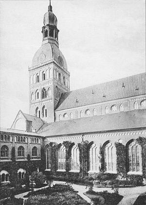 History of Riga - Courtyard of the Dom Church, cornerstone laid 1211