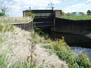 River Rother, South Yorkshire - Canklow regulator, used to hold back the flow of the river in flood conditions