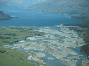 Makarora River - The Makarora River flows into northern end of Lake Wanaka.