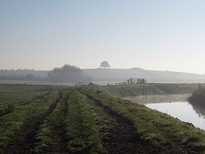 River Parrett Trail - View toward Burrow Hill from the River Parrett Trail on a misty morning