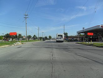 Riverview, Michigan - Northbound lanes of Fort Street at Sibley Road in 2011