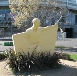 Sculpture depicting Rod Laver outside the Rod Laver Arena, Melbourne.