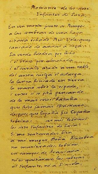 Cantar de los Siete Infantes de Lara - Romance manuscript telling of the siete infantes de Lara. Biblioteca Nacional de la República Argentina