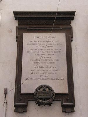 Benedetto Brin - Plaque dedicated to Benedetto Brin on Via Santi Apostoli, Rome.