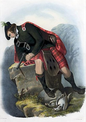 Clan Ross - A romanticised Victorian-era illustration of a Ross clansman by R. R. McIan from The Clans of the Scottish Highlands published in 1845.