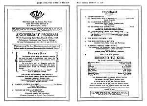 Roxy Theatre (New York City) - Program for the week of the first anniversary of the Roxy Theatre, March 10-16, 1928