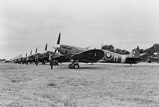 Spitfires of No. 350 (Belgian) Squadron at RAF Kenley in England, 1942. Royal Air Force Fighter Command, 1939-1945. CH6345.jpg