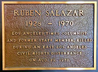 Ruben Salazar - A plaque honoring Ruben Salazar mounted in the Globe Lobby of the Los Angeles Times Building in downtown Los Angeles.