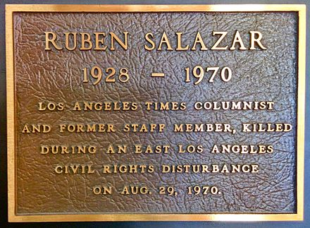 A plaque honoring Ruben Salazar mounted in the Globe Lobby of the Los Angeles Times Building in downtown Los Angeles. Ruben Salazar Globe Lobby Plaque.jpg