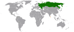 Map indicating locations of Russia and Sri Lanka