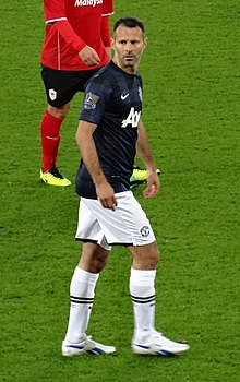Giggs playing against his hometown club, Cardiff City, for the first time  in November 2013.
