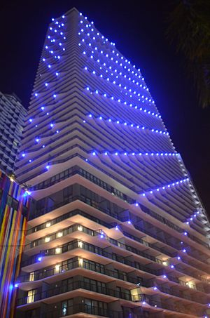 SLS Brickell - Image: SLS Brickell lit up