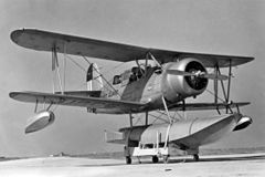 "A U.S. Coast Guard Curtiss SOC-4 ""Seagull"" at Bennett Field"