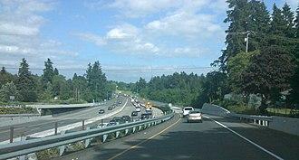 Washington State Route 500 - SR 500 near the St. Johns Boulevard interchange facing east