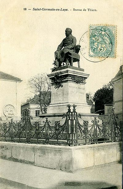 A statue of Thiers in Saint-Germain-en-Laye (about 1900) Saint-Germain-en-Laye - Statue de Thiers001.jpg