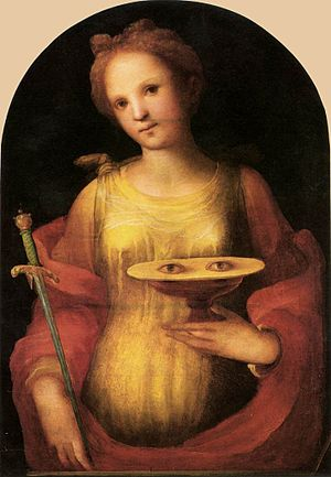 Saint Lucy - Saint Lucy by Domenico Beccafumi, 1521, a High Renaissance recasting of a Gothic iconic image (Pinacoteca Nazionale, Siena)