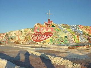 <i>Salvation Mountain</i> sculpture by Leonard Knight